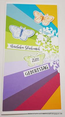 Strahlenkarte in langer Form zum Geburtstag Stampin' Up! www.eris-kreativwerkstatt.blogspot.de