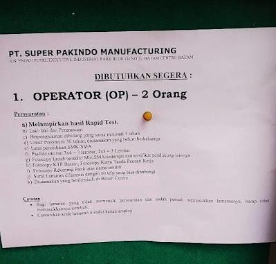 Kerjabatam.com PENGUMUMAN RESMI LOKER PT. Super Pakindo Manufacturing
