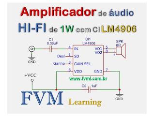 Amplificador de áudio HI-FI de 1W com CI LM4906