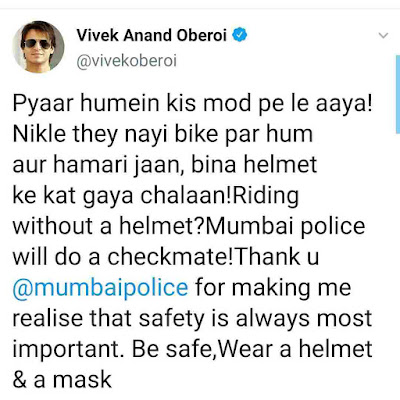 Vivek Oberoi drove the bike without a helmet, the police cut the challan, so the actor said - Love brought us at what point!!