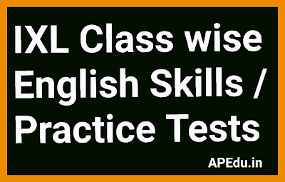 IXL Class wise English Skills / Practice Tests