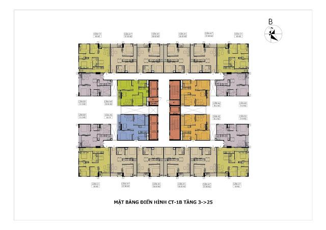 Mặt bằng tổng thể toà CT1B chung cư Hateco
