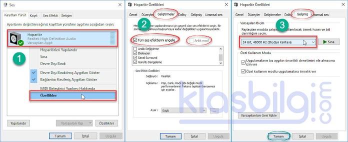 Windows 10 Hoparlör Cızırtı Sesi Sorunu Çözümü
