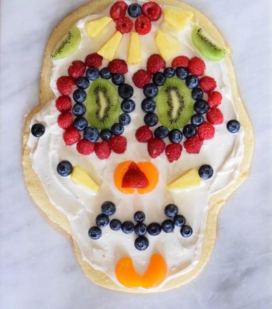 Sugar Skull Dessert Pizza For Halloween Party