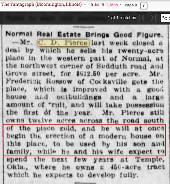 c. d. pierce normal Illinois 1911 sells 20 acres of fruit farm