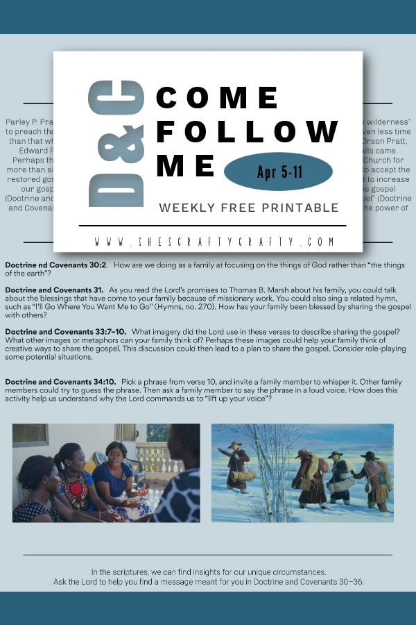 Pinterest Pin Come Follow Me Printable for Doctrine and Covenants 30-36