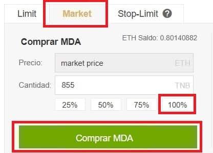 Criptomoneda Moeda (MDA) Comprar y Guardar Billetera