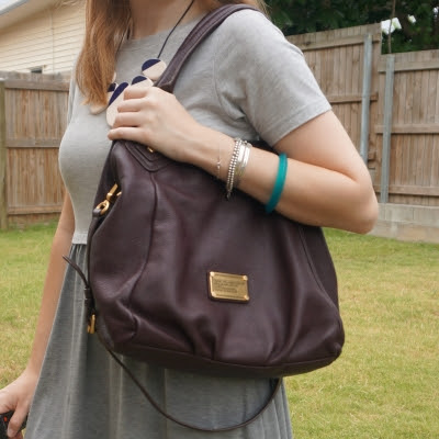 grey skater dress with Marc By Marc Jacobs Classic Q Fran bag with gold hardware in carob brown | awayfromtheblue