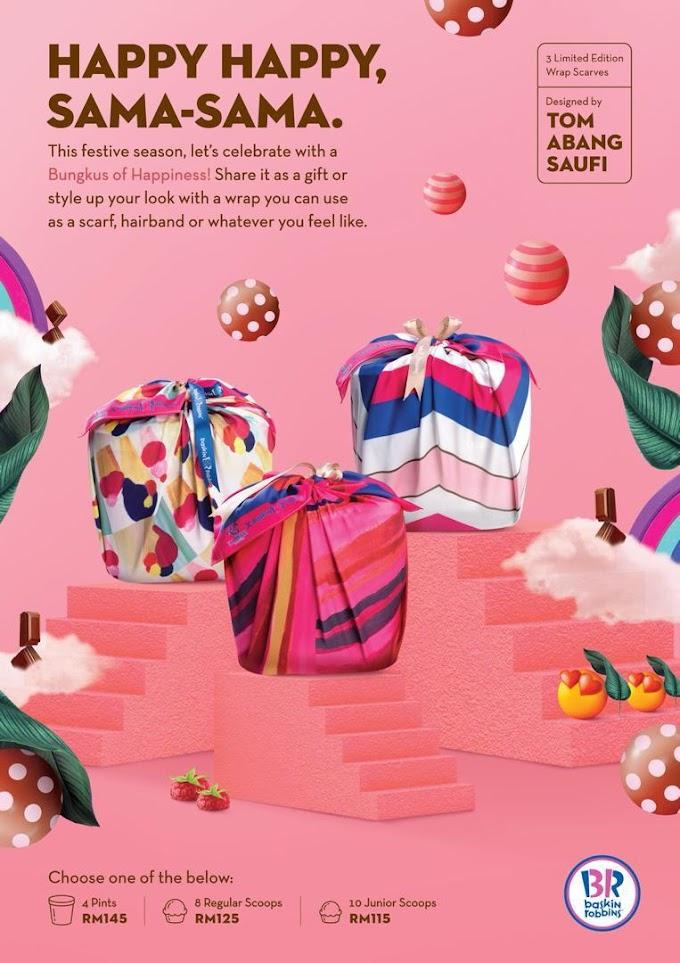 """Kolaborasi """"Bungkus of Happiness"""" Baskin-Robbins X Tom Abang Saufi Hamper Istimewa Untuk Hari Raya Ini"""