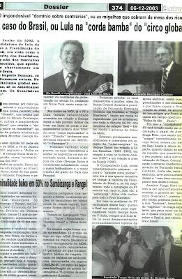 BRASIL TORNA-SE PREVISÍVEL CANCRO DA AMÉRICA DO SUL