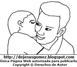 Papá recibiendo un beso de su hijo para colorear. Dibujo de papá hecho por Jesus Gómez