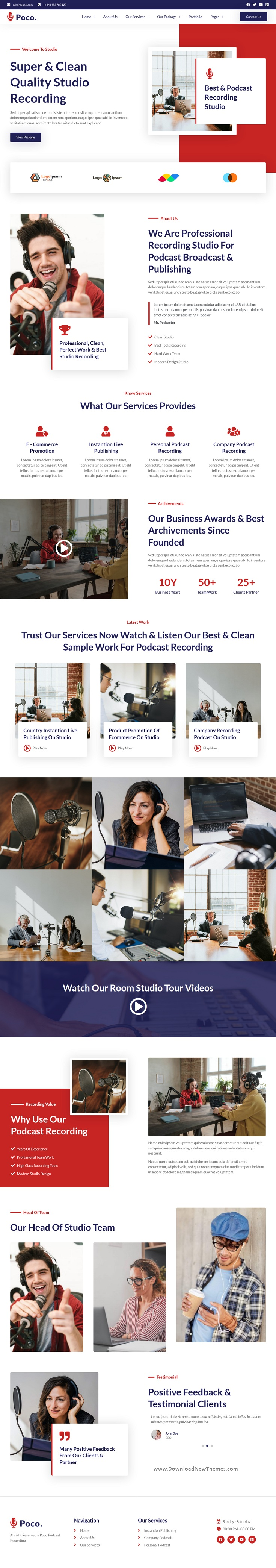 Podcast Recording Studio Services Elementor Template Kit