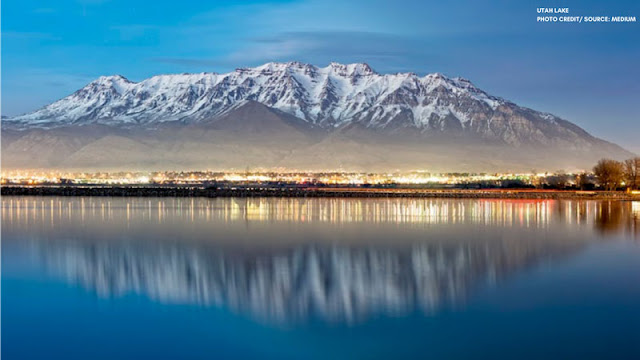 Mountain and Lights reflected in Utah Lake