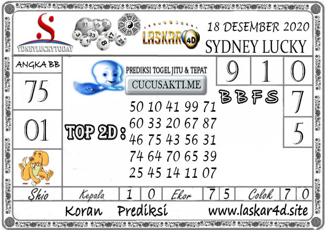 Prediksi Sydney Lucky Today LASKAR4D 18 DESEMBER 2020