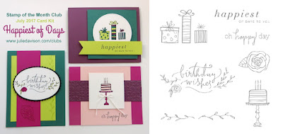 Stampin' Up! Happiest of Days Birthday Card Kit for July Stamp of the Month Club by Julie Davison www.juliedavison.com/clubs ~ 2017-2018 Annual Catalog