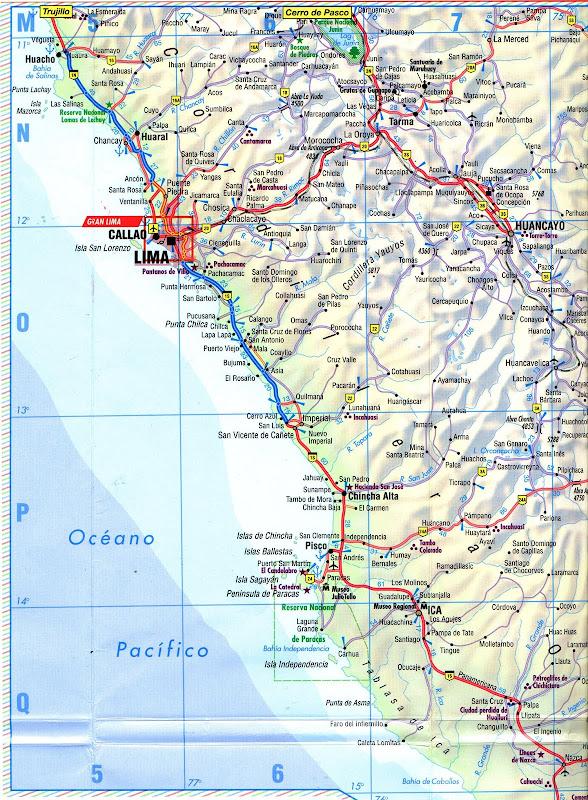 Mapa rodoviário da região de Lima - Peru