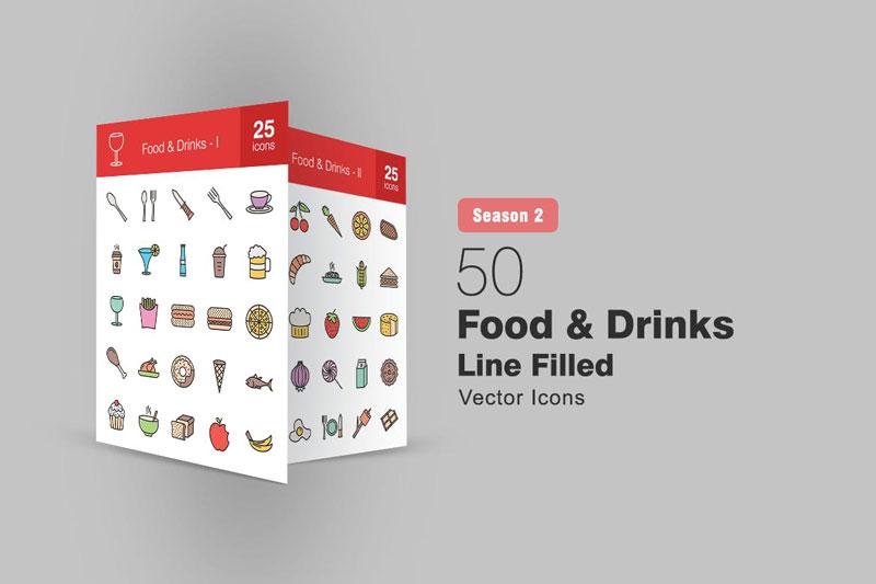 50 Food & Drinks Filled Line Icons Season II