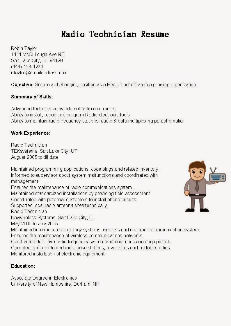 radio mechanic resume sample