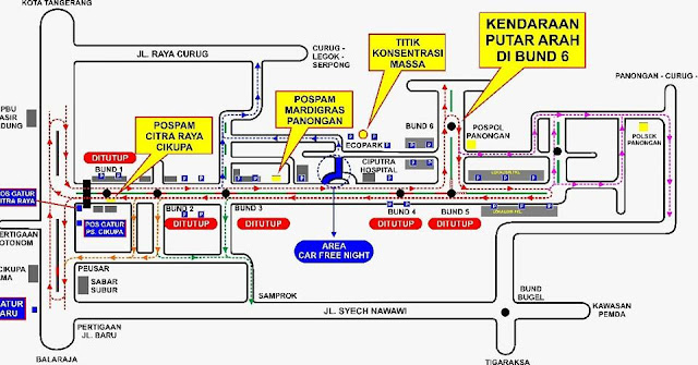 Rekayasa Lalin Malam Tahun Baru di Citra Raya Tangerang