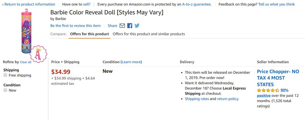 Цена куклы Барби 7 сюрпризов Barbie Color Reveal Doll