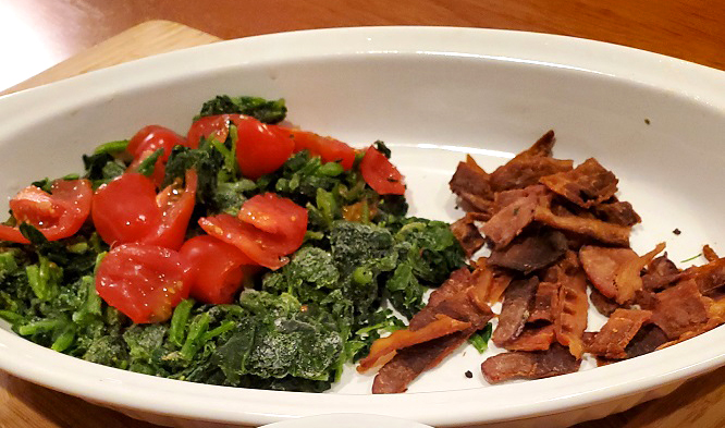 crispy bacon, tomatoes and spinach