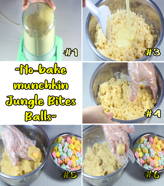 This is a step by step from scratch in making No-bake munchkin Jungle Bites Balls.