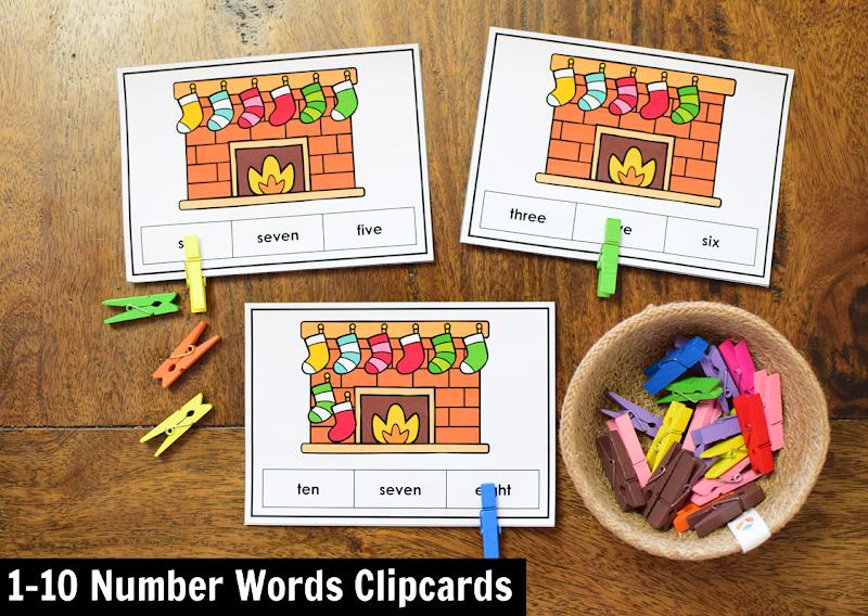 Kindergarten Math Center for December: 1-10 Number Word Clipcards