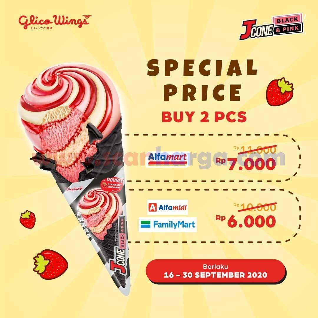 Promo Glico Wings Jcone Black & Pink Ice Cream Beli 2 PCS Mulai Rp 6 Ribuan