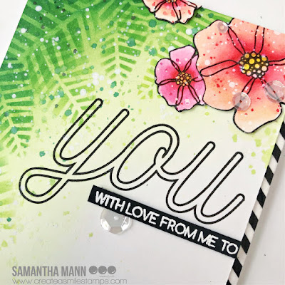 With Love from Me to You Card by Samantha Mann for Create a Smile Stamps blog, Distress Inks, Ink Blending, Stencil, Sequins, Cards, Card Making, Handmade Cards, #distressinks #Inkblending #createasmile #createasmilestamps #stencil