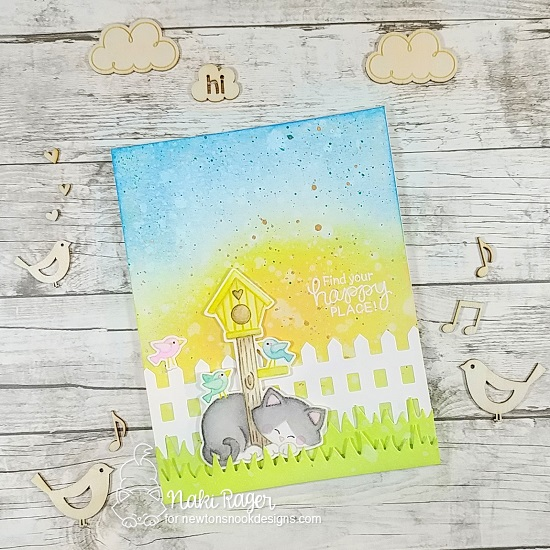 Cat and Birdhouse card by Naki Rager | Newton's Birdhouse Stamp Set, Land Borders Die Set and Fence Die by Newton's Nook Designs #newtonsnook #handmade