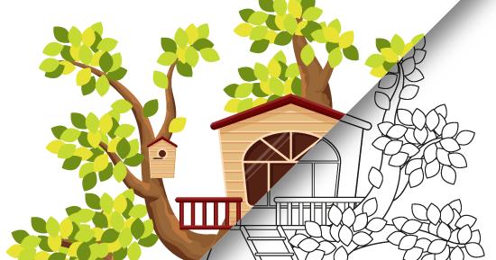 Скачать раскраску: домик на дереве ~ Записки ...