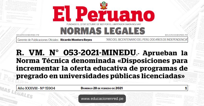 R. VM. N° 053-2021-MINEDU.- Aprueban la Norma Técnica denominada «Disposiciones para incrementar la oferta educativa de programas de pregrado en universidades públicas licenciadas»