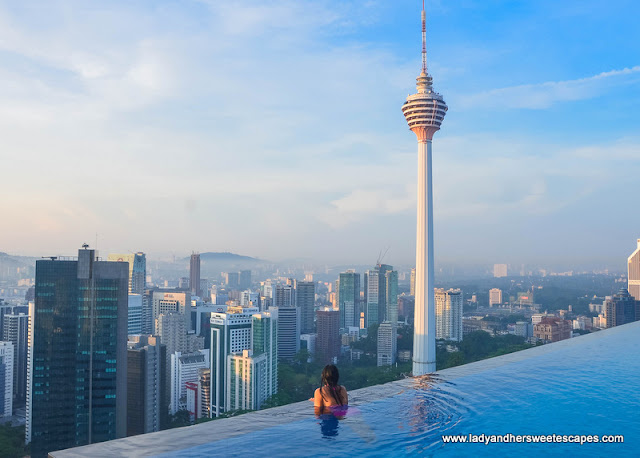KL Tower view from THE FACE Suites' infinity pool