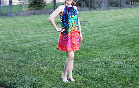 Woman outside wearing brightly colored sundress made from McCall's M7405 View A.