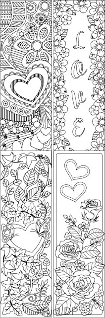 Valentines Coloring Bookmarks set 2