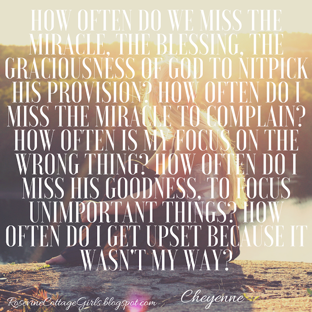 How often do we miss the miracle, the blessing, the graciousness of God to nitpick His provision? How often do I miss the miracle to complain? How often is my focus on the wrong thing? How often do I miss His goodness, to focus unimportant things? How often do I get upset because it wasn't my way? by Rosevine Cottage Girls