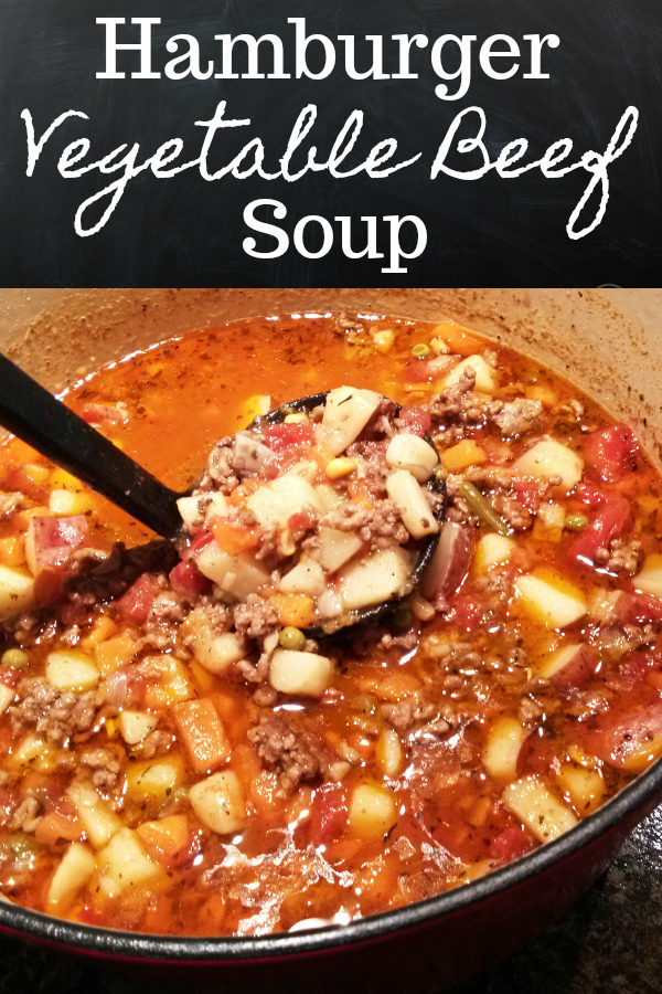 An easy vegetable beef soup recipe made with ground beef just like the old-school cafeteria lunch rooms once served!