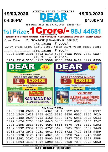 Lottery Sambad Result 19.03.2020 Dear Success Thursday 4 pm