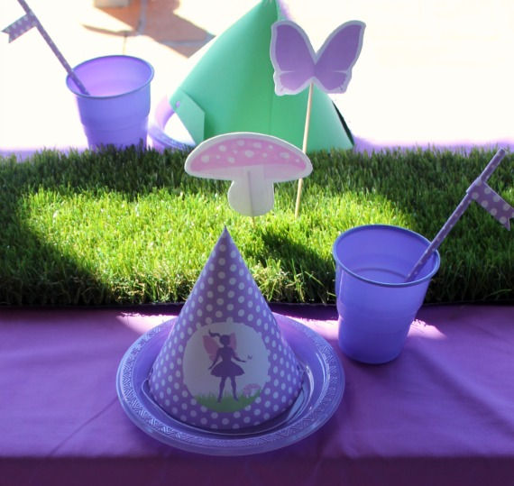paper fairy party hat, diy, print it yourself, paper party props, fairy party supplies, grass table runner, mushroom, butterfly, pink