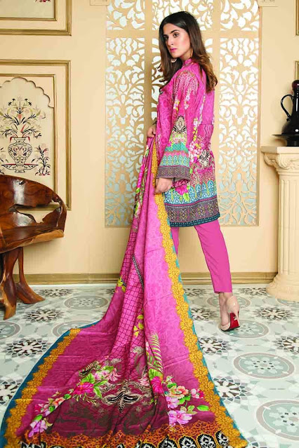 Gul ahmed winter unstitched light pink colour and khaddar printed suit