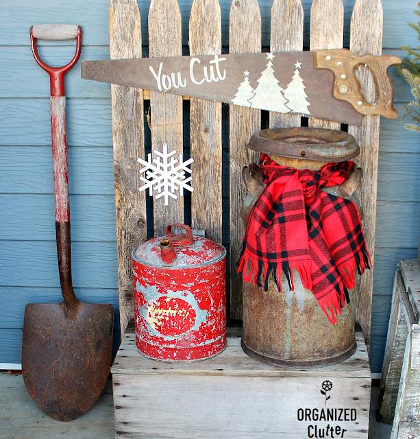 2019 Rustic Christmas Covered Patio Junk Decor #RusticChristmas #oldsignstencils #farmjunk #farmtools #farmsequipment #plaid #buffalocheck #outdoordecor