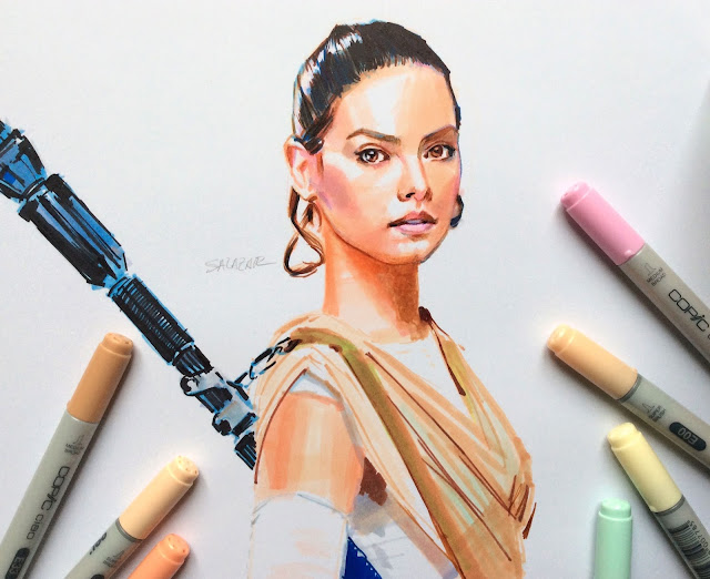 Rey Star Wars dibujo con rotuladores Copic Markers
