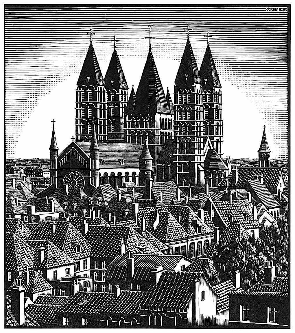 M.C. Escher, a town's rooftops and church, Amsterdam