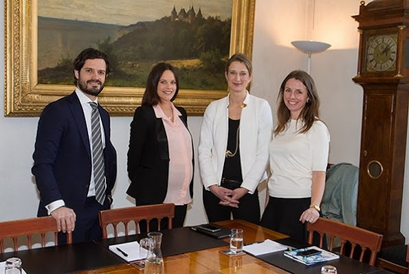 Princess Sofia and Prince Carl Philip of Sweden held a meeting with Christine Grahn, Facebook's Switzerland Policy Director at Stockholm Royal Palace