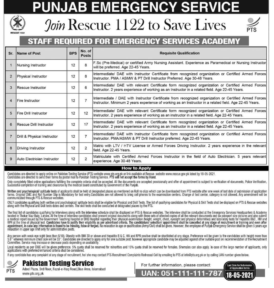 Latest Punjab Emergency Service Rescue 1122 Jobs 2021 Advertisement