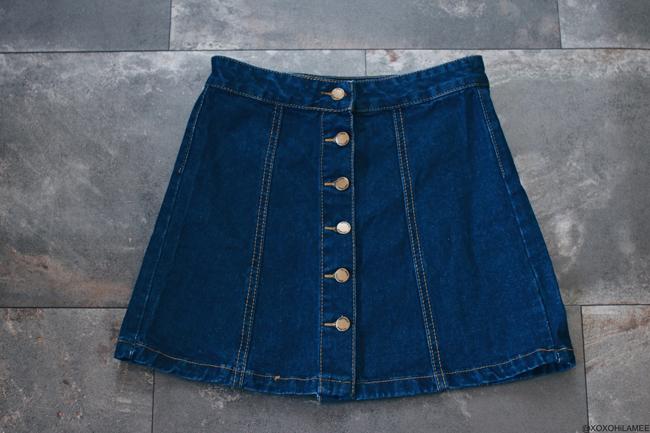ファッションブログ、NewIn,コラボ、SheIn、フロントボタンデニムスカート