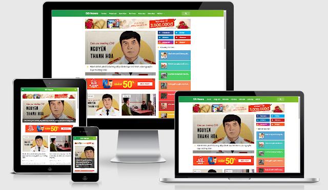 Template Blogspot tin tức responsive chuẩn SEO DNews