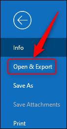 """خيار Outlook """"فتح وتصدير""""."""
