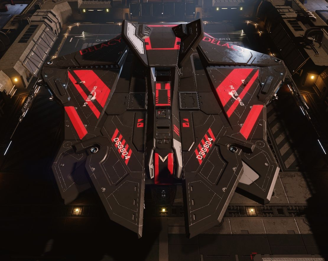 Elite Dangerous hajó: DYNA SGS04 - egy Krait Phantom, fekete-piros festéssel.