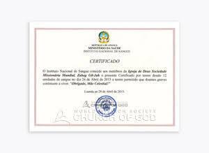 Certificado da Directora do Instituto Nacional de Sangue de Angola